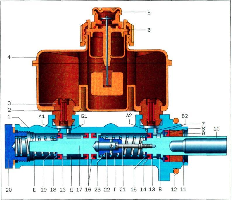 Схема устройства в разрезе с пронумерованными деталями.