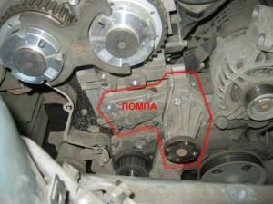 Где находиться помпа двигателя